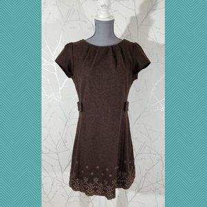 Final Touch Brown Wool Blend Dress w/ Floral Hem